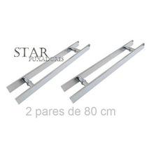 2 Pares Puxador P Porta De Vidro Temperado (blindex) 80x60