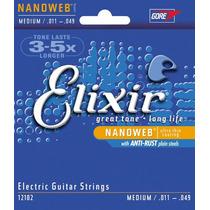 Encordoamento Elixir .011 Cordas Para Guitarra Nanoweb 12102