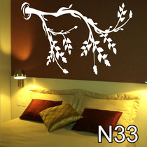 Adesivo N33 Árvore Tronco Galhos Secos Com Folhas E Flores