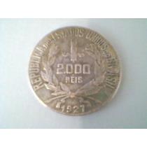 Moeda Antiga De Prata 2000 Réis 1927 - Mocinha - Di*