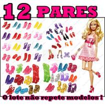 Kit Lote C/ 12 Pares De Sapatos Para Boneca Barbie Sapatinho