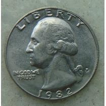 420 Eua - Quarter Dollar 1982 Letra P - Serrilha 24mm