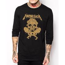 Camiseta Manga Longa Metallica Rock Banda