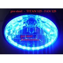 Farol Completo Titan 125 / Fan 2012 - Com Led Azul E Lampada