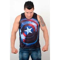Regata Machão Cavada Musculação Academia Capitao America Hd