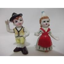 B.antigo - Casal De Crianças Miniatura Em Porcelana Japonesa