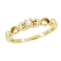 Solitário Em Ouro 18k!!com Diamantes De 5 Pontos!!