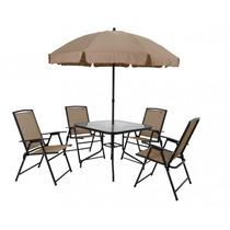 Conjunto Acapulco Jardim Mesa + 4 Cadeiras + Guarda-sol Mor