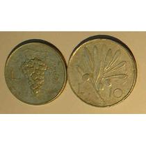 Itália - Moedas De 5 E 10 Liras De 1.949.