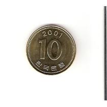 Linda Moeda Da Coréia Do Sul - 10 Won De 2001 - Vejam A Foto