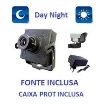 Mini Camera Ccd Sony 500 Linhas 1/3 + Fonte + Caixa De Prot