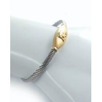 Pulseira Em Aço E Chapa De Ouro C\ Imagem De Elefante J10172