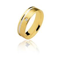 Aliança Prata Banho Ouro 5mm Com 1 Zirconia 1 Fio De Rhodium