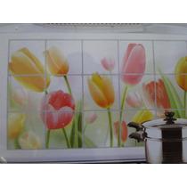 Lindo Adesivo Cozinha Azulejo Tulipa Grande 75 X 45 Cm Foto