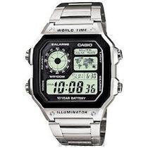 Relógio Casio Ae-1200w Aço 5alarmes Unisex 100m Ae1200 Aq160