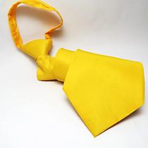 4 Pcs Gravata Amarela C/ Zíper: Copa, Casamento, Uniforme.