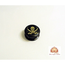 Alargador 16mm Preto Acrílico, Caveira De Pirata, De Rosca