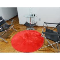 Tapete P/ Sala Quarto Escritório Redondo Vermelho 1,20x1,20