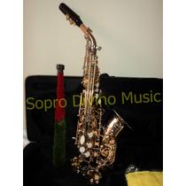 Sax Soprano Curvo Corpo Niquelado Chaves Douradas Jahnke
