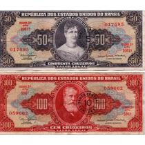 Cédulas Originais De 10 20 50 100 Cruzeiros Lote 4 Notas