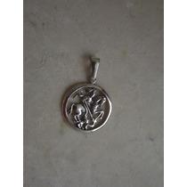 Pingente Medalha São Jorge 4,2 Cm Prata 950 Frete Grátis