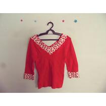 Blusa Feminina Vermelha Bolinhas Tricot Decote V Cód. 343