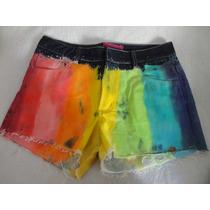 Shorts Jeans Moderno Feminino Colorido 42