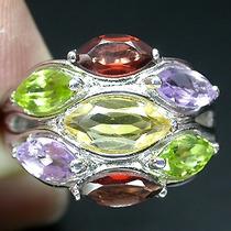 Ametista,citrino,peridoto,granada-anel Prata925-ouro 14k