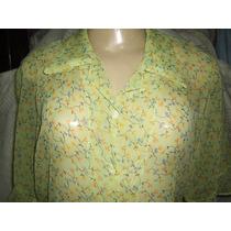 Camisa Feminina Estampa Floral Crepe De Seda M