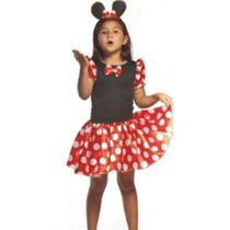 Fantasia Infantil Festa Carnaval Minie Vermelha - Minnie