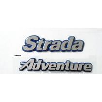 Emblema Strada Adventure 99 Cromado Com Fundo Azul Fiat