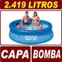 Piscina Inflável 2419 Litros Intex + Capa Cobertura + Bomba