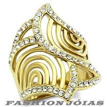 Anel Folheado A Ouro 18k Com Zirconias Luxo
