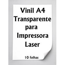 Vinil Adesivo A4 Transparente Para Impressora Laser