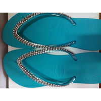 Sandalia Chinelo Havaianas Bordadas Decoradas Com Strass
