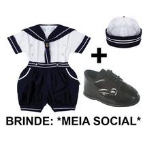 Conjunto Marinheiro Infantil Bebê + Sapato = Veste 1 Ano