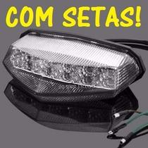 Lanterna Led Universal Com Setas Honda Cb 300r Rabeta Slim