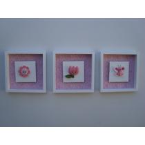 Quadros Quarto Bebê Jardim Encantado/flores/tulipa/borboleta