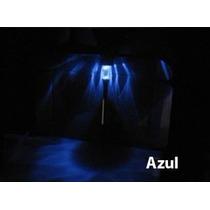 Kit Com 2 Luminárias Solares P/ Jardim Inox - Azul