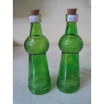 #4630# Par De Garrafas De Vidro Verde Bico De Jaca!!!