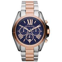 Relógio Michael Kors Mk5606 Prata, Azul E Rose Caixa/manual.