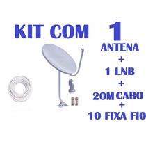 Kit Antena Banda Ku Completo + Lnb Duplo + 20m De Cabo Rg6