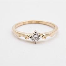 Lindo Anel Solitário Em Ouro 18 K Mais Diamante 20 Pontos