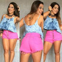 Shorts Hot Pant Cintura Alta Com Botão Rosa Claro Destroyed