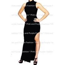 Vestido Longo Em Viscolycra Gola Alta Com Fenda - Do Pp A Gg