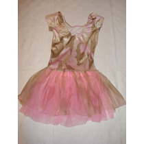 Bailarina Vestido Na Cor Rosa E Bege Adulto M - Made In Usa