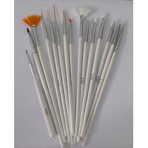 Kit Para Decoração Unhas Com 14 Pinceis + 1 Pincel Boleador