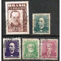 062 Sls- Brasil- 5 Selo Postal Antigo- Carimbado- 1954- 1957