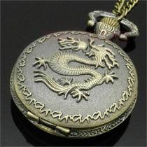 Colar Corrente Relógio Dragão De Fogo Ear Cuff Bronze 70 Cm