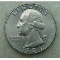 511 Eua - Quarter Dollar 1984 Letra P - Serrilha 24mm